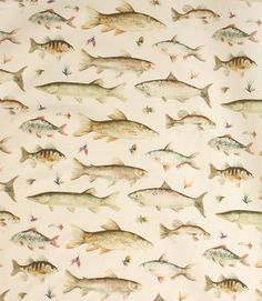 Voyage Decoration River Fish Small Fabric / Cream | Just Fabrics