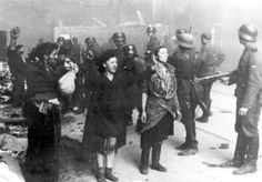 Jews captured by Waffen SS soldiers during the suppression of the Warsaw Ghetto Uprising. Photograph from a report filed by Juergen Stroop, commander of the German forces that liquidated the ghetto. Poland, April-May 1943. First: Hasia Szylgold-Szpiro. People identified by survivors in pictures. Most of those now indentified did not survive. But now we have a name to go with the victims