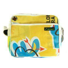 """Ferran Yellow"" shoulder bag by Demano. Recycled Scaffolding Nets from Spain. Love it!"