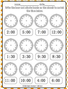 Fall Math Journal Aligned to the Common Core : Math Journal page Telling time! 2nd Grade Math Worksheets, 1st Grade Math, Kindergarten Math, School Worksheets, Math Math, Grade 2, Math Journal Labels, Math Journal Prompts, Interactive Math Journals