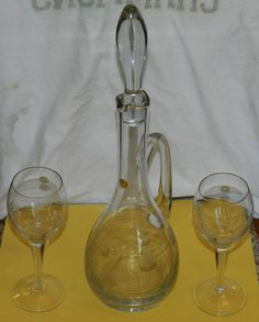 "Classic Hand Cut Clear Floral ""Romania"" Decanter /Six Glasses Set/ In Original B $70.00 OBO + $22.50 Shipping"
