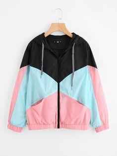 Cut And Sew Hooded Windbreaker Jacket -SheIn(Sheinside)