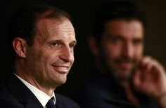 Massimiliano Allegri, Coach of Juventus speaks to the media during the Juventus Press Conference at Estadio Santiago Bernabeu on April 10, 2018 in Madrid, Spain.