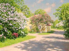 Johan Krouthén (1858-1932) - Blommande vårträdgård,1932 (650х865)
