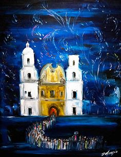"Upon request here is a photo of DeGrazia's ""Fiesta at San Xavier"". Hope you enjoy it as much as we do! #TedDeGrazia #DeGrazia #Ettore #Ted #Artist #GalleryInTheSun #ArtGallery #Gallery #NationalHistoricDistrict #Foundation #Nonprofit #Adobe #Architecture #Tucson #Arizona #AZ #Catalinas #Desert #PaletteKnife #Oil #Painting #SanXavierMission #SanXavier #Mission #WhiteDove"
