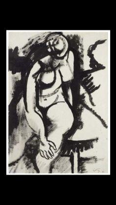 """Renato Guttuso - """" Sans titre """", 1957 - Encre - 65 x 46 cm"""