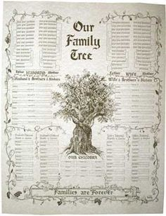 Free Printable Family Charts   Our Family Tree - Families are Forever