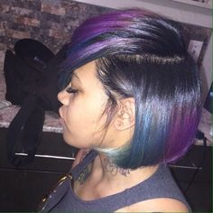 Colorful Bob with a deep side part Dope Hairstyles, Weave Hairstyles, Pretty Hairstyles, Creative Hairstyles, Bob Hairstyle, Vibrant Hair Colors, Cute Hair Colors, Curly Hair Styles, Natural Hair Styles