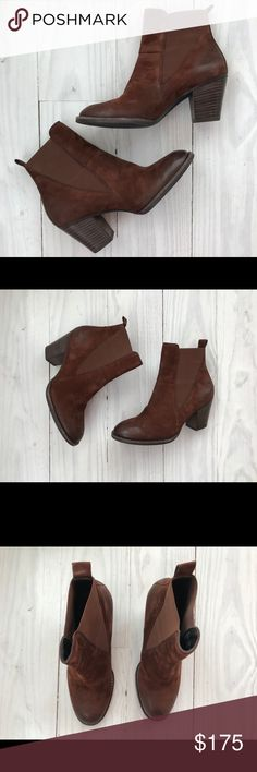 """NEW! Paul Green 'Jules' Block Heel Chelsea Boot Sold out at Nordstrom!  Very well reviewed boot Beautifully crafted Buttery soft brown suede From the Designer: Distressed, oiled leather and a stacked block heel provide rugged updates for a standby Chelsea boot, while the angled cut of the elastic-gore side panels brings a modern counterbalance. 3"""" heel; 5"""" shaft Pull-on style with inset elastic-gore panels Leather and rubber upper/leather lining/rubber sole Made in Austria Paul Green Shoes…"""