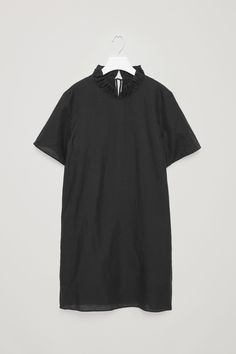 COS image 5 of Frill-neck dress in Black