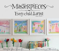 art displays - Masterpieces Wall Decal Every Child is an Artist Picasso Wall Quote Kids Art Display Decal Playroom Wall Decor Baby Room Wall Decals, Playroom Wall Decor, Vinyl Wall Art, Art Wall Kids, Wall Stickers, Art For Kids, Playroom Ideas, Kid Decor, Art Children