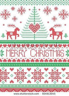 Scandinavian style and Nordic culture inspired Christmas and festive winter seamless pattern in cross stitch style with Xmas trees, snowflakes, stars, reindeer, hearts, ornaments in red, green, white
