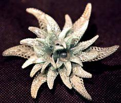 Ocean Green Lily Flower Brooch by GenusJewels on Etsy