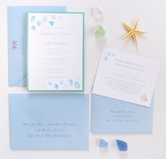 Watercolor sea glass beach wedding invitations by artist Michelle Mospens. | Mospens Studio