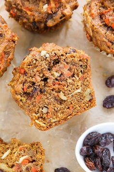 My Favorite Morning Glory Muffins (Baker By Nature) - Herzhaft Mini Muffins, Oatmeal Muffins, Breakfast Muffins, Breakfast Recipes, Carrot Muffins, Morning Glory Muffins, Healthy Muffins, Healthy Snacks, Coconut Muffins