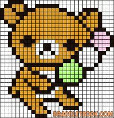 Free Cute Kawaii Rilakkuma Bear Cross Stitch Chart or Hama Perler Bead Pattern