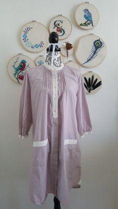 Blusenkleid Bluse Hemd Hemdkleid kleid kurz in lila weiß gestreift