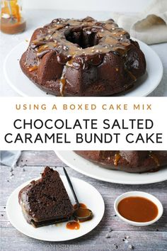 Chocolate Salted Caramel Bundt Cake is easy for kids to make because it uses a boxed cake mix. This bundt cake is a rich brownie cake topped with chocolate glaze and salted caramel drizzle. It's a perfect dessert for a party or special occasion. Cake Mix Fudge, Fudge Sauce, Box Cake Mix, Brownie Cake, Super Moist Chocolate Cake, Chocolate Fudge Cake, Chocolate Glaze, Easy Desserts, Delicious Desserts