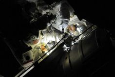 Exiting the air lock at night. Gorgeous pic