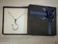 "Genuine DIAMOND Sterling Silver 925 Horseshoe 18"" SS Chain FREE GIFT Box FREE SH"