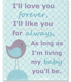 Aqua and Lavender Nursery Art I'll Love You by SweetPeaNurseryArt, $15.00