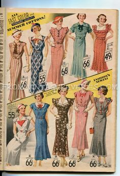 Summer dress fashions from the 1935 Chicago Mail Order Catalog, including two full color pages. Illustrations of the 1930s silhouette and dress lines.