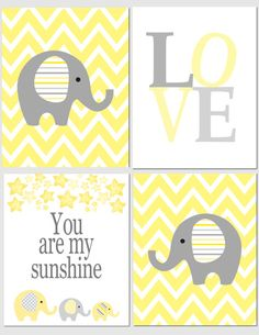 Love and Sunshine in Yellow and Gray - Nursery Art Baby Nursery Boy Girl Kids Wall Art by vtdesigns, $40.00