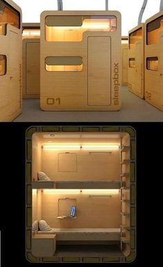 Sleep Box-this would be fantastic to have for renting in an airport! Sleep Box-this would be fantastic to have for renting in an airport! Micro House, Tiny House, Futuristic Architecture, Architecture Design, Sleep Box, Sleeping Pods, Office Pods, Capsule Hotel, Hostel