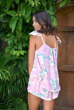 Indah Wing Pajama Set Mary-Rose Pink & Bobble Trim by Piyama