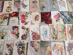 Lot of 55 Vintage Postcards with Flowers-Florals  all w/ Writing on Front-ooo767