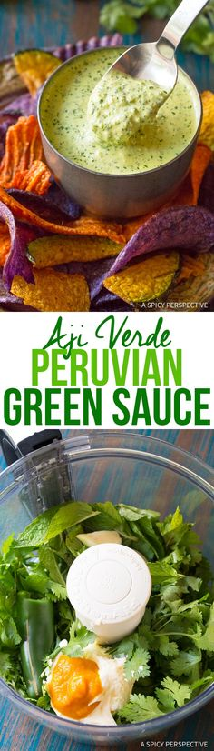 The Best Aji Verde (Peruvian Green Sauce) - A simple and fresh dipping sauce recipe, fantastic with chips, fried plantains, and grill chicken! via @spicyperspectiv
