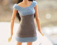 Vêtements Momoko, mini-robe d'été, Tricot pour Momoko, mini-robe gris,  blanc ou jaune, veste mini poupée jaune, robe  main Momoko