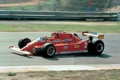 Gilles Villeneuve testing the Ferrari turbo v-6 in the 126 chassis
