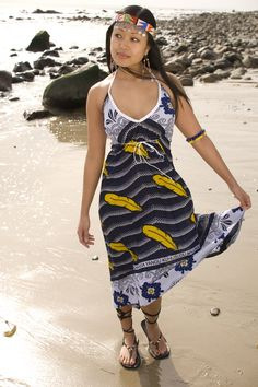 Light summer dress made from Kanga material from East Africa