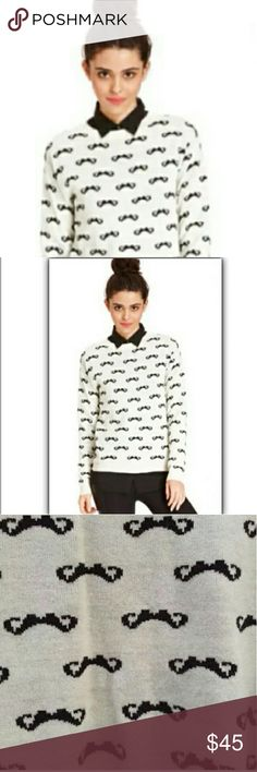 New- MOVEMBER Cream Mustache Sweater - Small *** NO TRADES WHATSOEVER ***   Cream pullover crewneck sweater with black mustache print. Thick and warm. BRAND NEW, NEVER WORN SMALL  I work in L.A as a wardrobe stylist for film and television. All my items are authentic and come from high end boutiques or stores. Sweaters