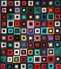 Vested Interest, ©2007 by Michelle Chapais; made as a raffle quilt for Voices Rising, a Boston area women's chorus. The fabrics are mainly tuxedo vests and bow ties worn by chorus members.