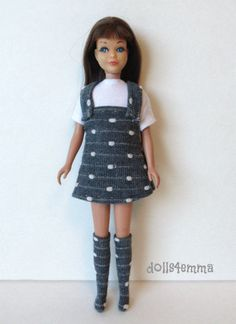 Vintage SKIPPER Doll Clothes handmade DRESS BOOTS TOP Fashion NO DOLL d4e