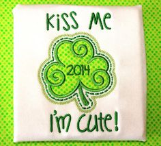 St. Patrick's Day tshirt or onesie shamrock applique by CPAdesigns, $21.00