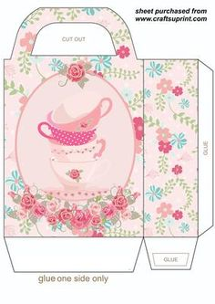 Pink floral tea cups gift bag on Craftsuprint designed by Sharon Poore - Pink floral teacups gift bag,you will need to print 2 sheets to make the gift bag - Now available for download!