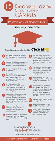 Ideas for an act of kindness to do on campus!