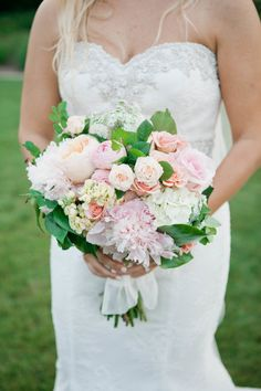 This soft and elegant bouquet was designed with white hydrangea, light pink dahlias, and blush and pink garden roses. Photo credit: Marilyn Duvall Photography   Whim Florals   Ian's Chapel