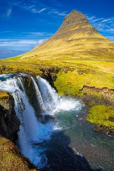 Kirkjufell mountain and Kirkjufellfoss waterfall in Iceland.  Available as poster, framed fine art print, metal, acrylic or canvas print. Matthias Hauser hauserfoto.com - Art for your Home Decor and Interior Design needs.