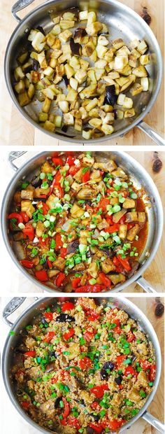 Stir-fried spicy Asian eggplant, with quinoa and veggies. Healthy ingredients, gluten free, vegetarian, low carb, low fat recipe.