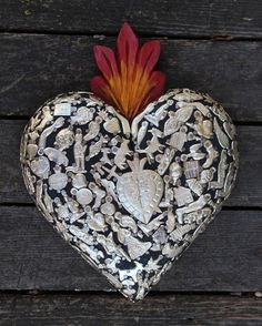 Wood Heart covered in Milagros Miracle Ex Voto Mexican Folk Art Love Token