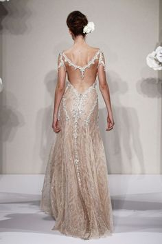 Bridal Gowns: Pnina Tornai Sheath Wedding Dress with V-Neck Neckline and No Waist/Princess Seams Waistline