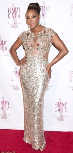 Looking effortlessly glam and giving it some va-va-voom, Vivica A Fox proves that ladies over 50 (she's 50) still have their A-Game when it comes to sex appeal. Spotted on Tuesday at the Underfashion Club for the Femmy Gala, held at Manhattan's Cipriani Restaurant. The diva looked utterly divalicious in a mesh and silver-sequin frock.