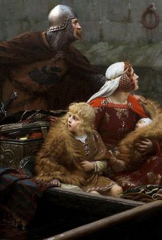 Edmund Blair Leighton,In Time of Peril,detail,1897.
