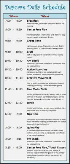 Home Daycare Schedule Preschool At Home, Preschool Curriculum, Preschool Learning, In Kindergarten, Preschool Activities, Teaching, Preschool Classroom Schedule, Day Care Activities, Preschool Routine