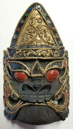 Indonesia/Bali/Java Fantasy Mask Wood-- Pre-Owned Wood Ornaments, How To Make Ornaments, Indonesian Art, Barong, Missing Piece, Balinese, Java, Red Gold, Hand Carved