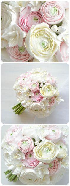 White Ranunculus Bouquet White ranunculus bridal bouquet with artificial flowers White Ranunculus, Bouquet Flowers, Wedding Bouquets, Wedding Flowers, Wedding Dresses, Romantic Wedding Colors, Wedding Countdown, Bride Photography, Floral Arrangements